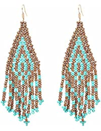 Young & Forever Mothers Day Gifts Boho Gypsy Collection Gold And Turquoise Bead Drop & Dangle Earrings For Womens...