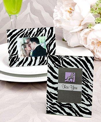 Zebra pattern place card holder/picture frame favors