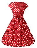 VKStar® Vintage 50s Rockabilly Kleid Damen Polka Dots Audrey Hepburn Kleid Cocktailkleid mit Tupfen Swing Kleid Rot mit weißen PunktenL