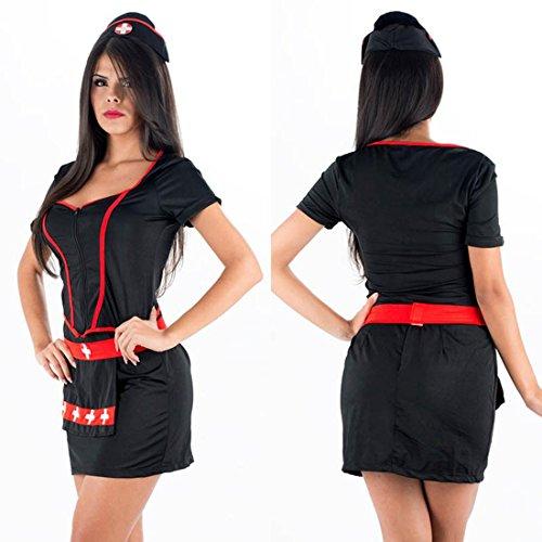 Kostüme Flirty Krankenschwester (DuuoZy Sexy Krankenschwester Kostüm Kleid Frauen Uniform Versuchung Bodycon Lingerie Set , Black , one)
