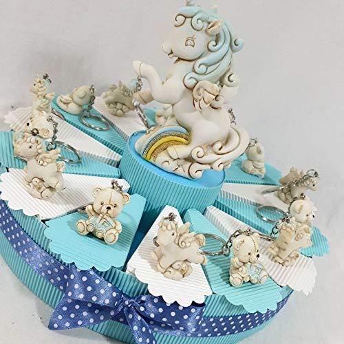 Bomboniere nascita battesimo per maschietto unicorno e orsetto portachiavi effetto pietra (torta 14 fette + 14 portachiavi + salvadanaio + confetti)