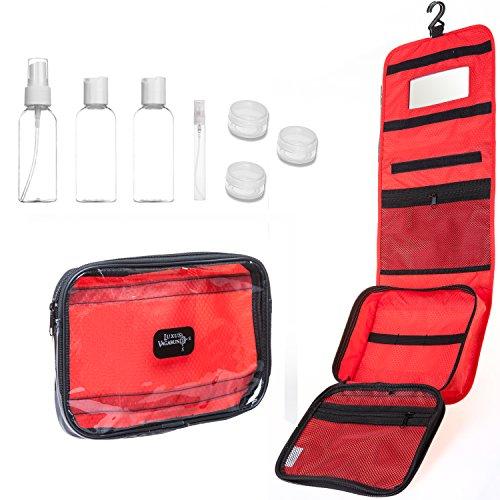 Kulturbeutel zum Aufhängen für Damen und Herren mit Handgepäck Kulturtasche transparent + 7 Flüssigkeiten-Behälter