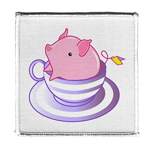 Teetasse Pig in Einem Gestreiften Violett Teetasse Niedliche und Bezaubernde Eisen auf Patch