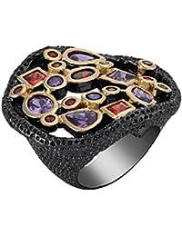 Shaze Black Coloured Global Trend Ring for Women | Rings for Women