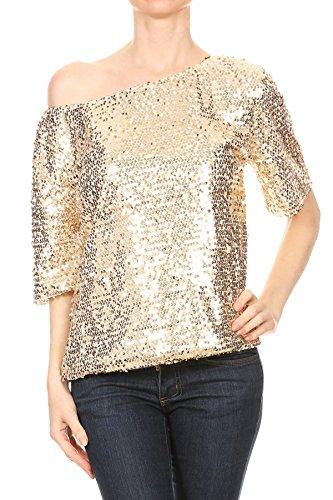 Anna-Kaci Damen Ein Schulter kurzarm Blingeling Glitzer Pailletten Lose Bluse Batwing T-Shirts Vintage Tops - Gold-pailletten-shirt