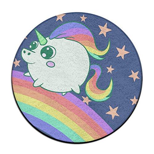 Unbekannt Funny Cute Einhorn Anti-Rutsch-Matten Zirkular Teppich Mats Esszimmer Schlafzimmer Teppich Fußmatte 59,9cm -