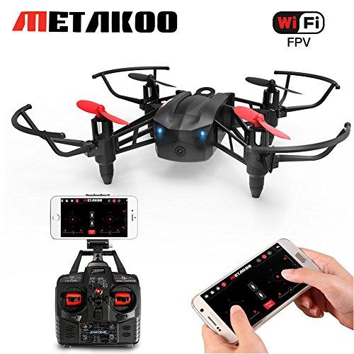 Drone Avec Caméra HD 720P Vidéo En Direct WIFI FPV Version, Metakoo M5 Formation Quadcoptère RC RTF, Drone de Course avec Mode de Maintien D'altitude, Mode Headless Contrôle Facile Pour Des gamins Les