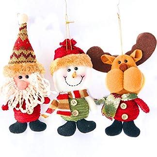 Tenrany Home Felpa Muñecas de Navidad Decoración, 3Pcs Papá Noel Muñeco de Nieve Ciervo Colgantes Juguete para Decoración Table Fiesta Arbol de Navidad Adornos