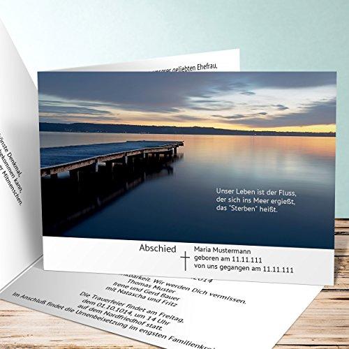 Einladungskarten Beerdigung, Blaue Stunde 1000 Karten, Horizontale Klappkarte 148x105 inkl. weiße Umschläge, Weiß