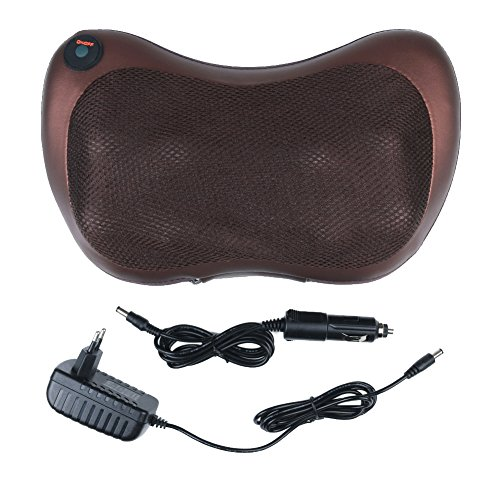 Portable Massage Pillow, Relax Neck / Back / Shoulder Pillow with Infrared Heat Function, Suit for Home and Car or Office (Brown)