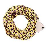 JAGENIE Womens Couples Baumwolle Double Layer Secret Versteckte Reißverschluss Tasche Infinity Loop Schal Kontrast Farbe Floral Leopard Printed Winter Ring Kuscheldecke Schal