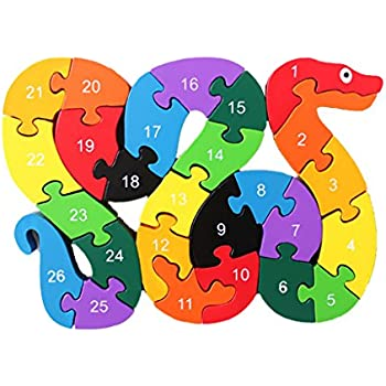 MagiDeal Alphabet Puzzle 3D Bois Enfant Jeux éducatifs Animaux Serpent Jouet Cadeau
