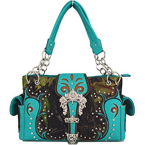 Blancho Biancheria da letto delle donne [antica foresta] borsa di cuoio elegante di modo Borsa Turchese Handbag-Turchese