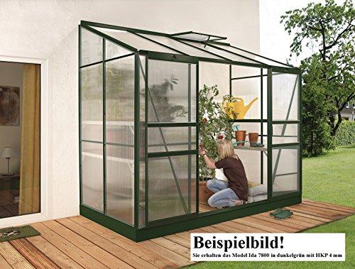 Gartenwelt Riegelsberger Anlehngewächshaus Ida – Ausführung: 7800 HKP 4 mm dunkelgrün, Fläche: ca. 7,8 m², mit 2 Dachfenster, Sockelmaß: 1,90 x 3,79 m