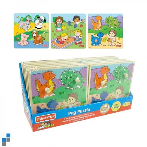 1 x Holzpuzzle Steckpuzzle 20 x 20 cm aus echtem Holz, 1 aus 3 Varianten zum Sammeln Puzzles Fisher Price