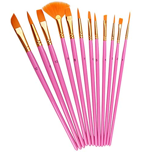 Pingxia Malerpinsel-Set für Aquarell, Acryl, Ölgemälde, ideal zum Malen von Leinwand, Keramik, Tonholz, geeignet für Kinder rosarot (Finger Schwämme Malen)