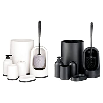 monochrome bin toilet brush 7 piece matching home bathroom accessories set amazoncouk kitchen home