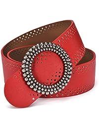 KERVINFENDRIYUN Cinturón de Cuero de Charol Hueco para Mujer Cintura Ancha  de Cuero Exquisito para Dama dedc627fc7c9