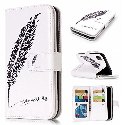 inShang Custodia per iPhone X 5.8 inch con design integrato Portafoglio, iPhoneX 5.8inch case cover con funzione di supporto. Black feathers