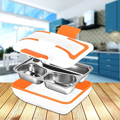 Rechaud Elektro Edelstahl PP Material Notebook schiscetta Box Lunchbox Elektro Removable 3-room Speisebehälter Bento Box für die Schule-Büro HB01 (Orange) Einheitsgröße Orange