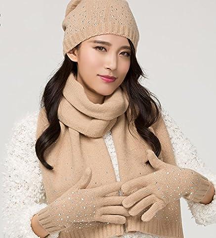 Winter Korean Version Manual True Wool Hat Scarf Gloves Three
