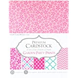 Darice Patterned 8.5 by 11 Cardstock Paper Pack, Garden Party Prints, 25 Piece