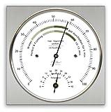Wohnklima-Hygrometer mit Thermometer, Edelstahlgehäuse, 110 x 110 mm
