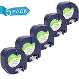 Freshworld 5 Rollen 91200 91220 S0721520 Papier Etikettenband Schwarz auf Weiß 12 mm x 4m Kompatibel für Dymo LetraTag LT-100H LT-100T LT-110T QX 50 XR XM 2000 Plus