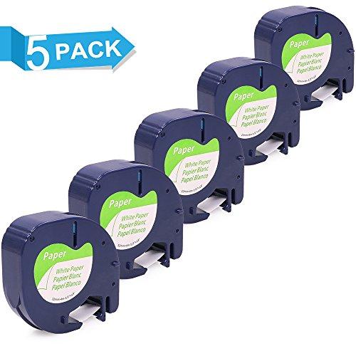 Freshworld 5 Rollen 91200 10697 91220 S0721520 Papier Etikettenband Schwarz auf Weiß 12 mm x 4m Kompatibel für Dymo LetraTag LT-100H LT-100T LT-110T QX 50 XR XM 2000 Plus