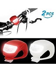 LED FahrradBeleuchtung, Infreecs Silikonleuchtenset LED Batterie Clip-On FahrradBeleuchtung, Mini LED Silikonleuchte Modi für Berg-Radfahren, Camping und täglichen Gebrauch 1 Weiße und 1 Rote Leuchte