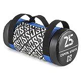 CAPITAL SPORTS Thoughbag Power Bag Sandbag 25 kg Kunstleder Profi Powerbag Sandsack mit reißfesten Griffen (Maße: ca. 21 x 50 cm, robuste Außenhaut) schwarz-blau-weiß