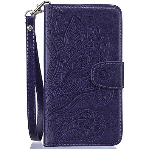 LMAZWUFULM Hülle für HTC Desire 650/628 / 626G 5.0 Zoll PU Leder Magnet Brieftasche Lederhülle Pfau-Blumen Prägung Design Stent-Funktion Ledertasche Flip Cover für HTC 650/628 / 626G Lila