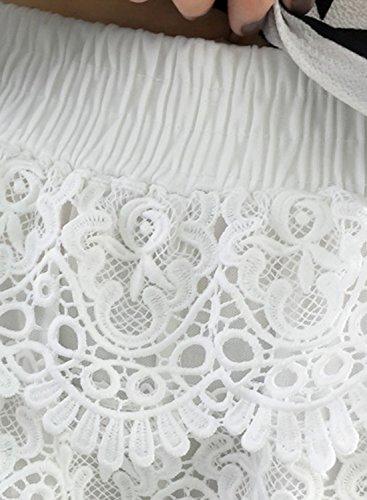 ACHICGIRL Women's Elastic Waist Floral Lace Solid Shorts Black