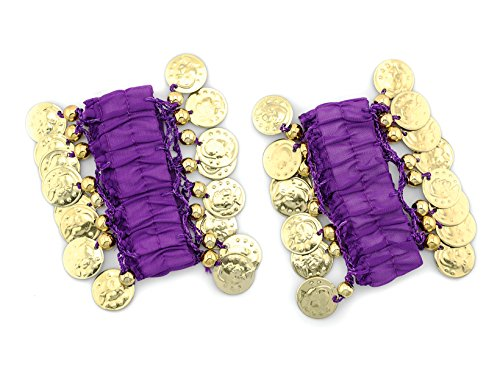 Belly Dance Handkette Armband Handschmuck Fasching Tanzen Bauchtanzen Handgelenk Manschette Verkleidung Armbänder mit goldfarbenen Münzen (Paar) in lila NEU (Neu Karneval Kostüme)