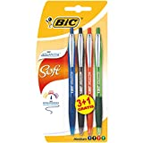BIC Atlantis Soft Stylos-Bille Rétractables Pointe Moyenne (1,0 mm) - Couleurs Assorties, Blister de 3+1