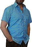 Trachtenhemd Mike kurzarm kariert mit Kontrasten Übergröße 4XL - 6XL, Größen:6XL;Farbe:türkis - weiss