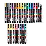 Uni Posca - Juego de rotuladores de pintura, punta extra fina, 21 colores (PC-1 M), notas adhesivas, color Fine