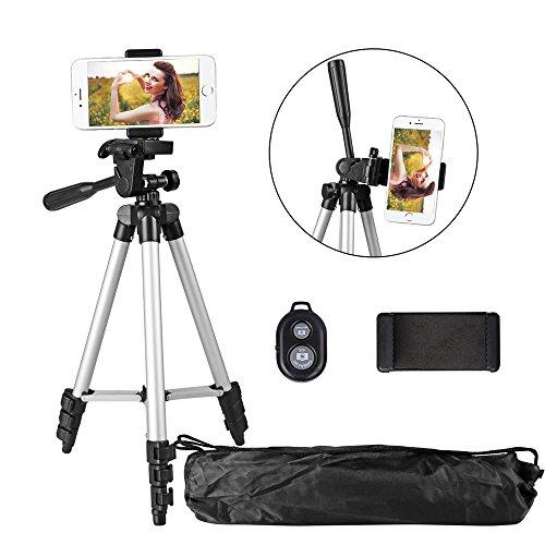 Handy Stativ 102cm Aluminium Kamera Stativ mit Bluetooth Fernbedienung und Smartphone Clip für Digitale Kamera, iPhone und Samsung (Kurzen Steuerung Glatte)