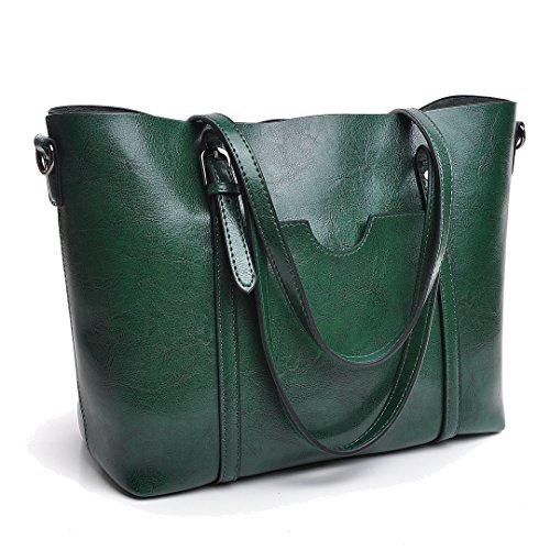 DIYNP Damen Handtaschen Schultertasche große Tote Shopper Taschen Henkeltasche Vintage Umhängetasche Schulterbeutel (Grün) (Grün Leder-umhängetasche)