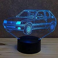 Lampe Peugeot 205 GTI personnalisable 16 couleurs RGB & télécommande - Fabriquée en France - Lampe de table - Lampe veilleuse - Lampe d'ambiance