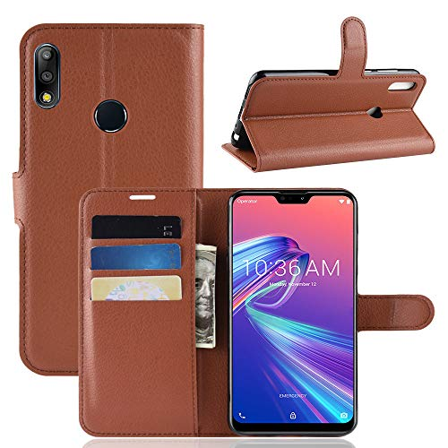 LAGUI Hülle, für Asus Zenfone Max Pro M2 ZB631KL, Reif und Stabil Brieftasche Lederhülle Mit Kartenfächern Fach und Magnetische Verschluss. braun