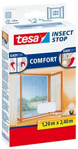 tesa Insect Stop COMFORT Fliegengitter für bodentiefe Fenster / Insektenschutz mit selbstklebendem Klettband in Weiß / 120 cm x 240 cm