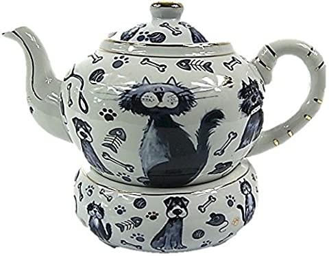 Pot à thé en porcelaine avec filtre fabriqué au Japon avec or 24carats avec support