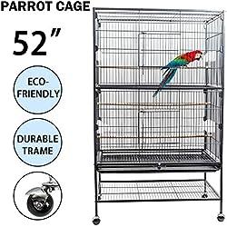 Dawoo Patio Exterior Jaula de pájaros de 52 Pulgadas Negro