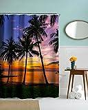 izielad Meer Paradies Strand Seestück Erfrischend Sommer Palme Kokosnuss Palme Sonnenuntergang Duschvorhang 180x200cm 72