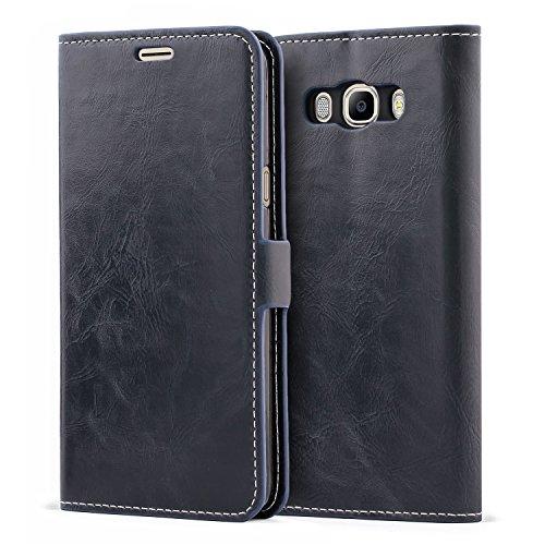 Mulbess Schutzhülle Ledertasche im Kartenfach Bookstyle für Samsung Galaxy J7 Duos 2016 (5,5 Zoll) Tasche Hülle Leder Etui Schale,Dunkelblau