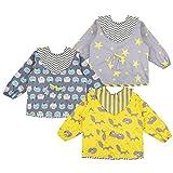 Lictin 3 Pcs Baberos Bebés con Mangas Impermeable-...