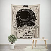 """Amkun Tarot Wall Tapestry The Moon The Star and The Sun Tapestry Medieval Europe Divination Tapestry Wall Hanging Tapestries Home Decorations Mysterious For Living Room Bedroom Home Decor (The Moon, 51""""×59"""")"""