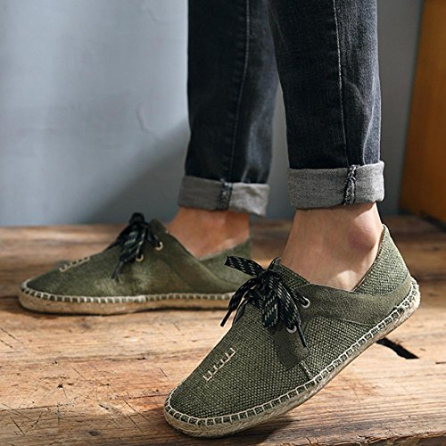 Schuhe der Sommermänner Fischerschuhe der Männer flache Schuhe Strohschuhe faule Schuhe Segeltuchschuhe Army Green