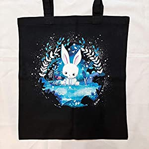 """Hasen Stofftasche""""Tami auf der Waldlichtung"""" – Süsse Tasche – Shopper – Einkaufstasche – Kawaii Rabbit – Alice im Wunderland – Kaninchen"""